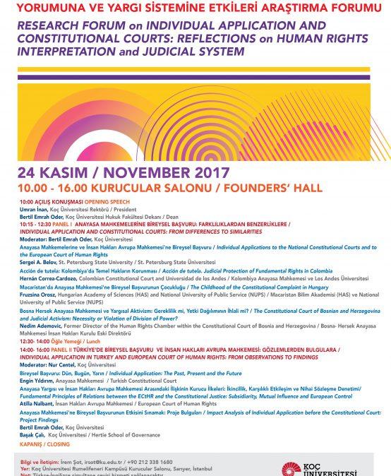 Anayasa Mahkemesi'ne Bireysel Başvuru Yolunun Anayasal Yoruma, Uluslararası İnsan Hakları Hukuku Yorumuna ve Yargı Sistemine Etkileri Araştırma Forumu