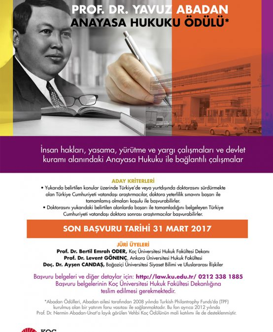 Prof. Dr. Yavuz Abadan Anayasa Hukuku Ödülü Sonucu