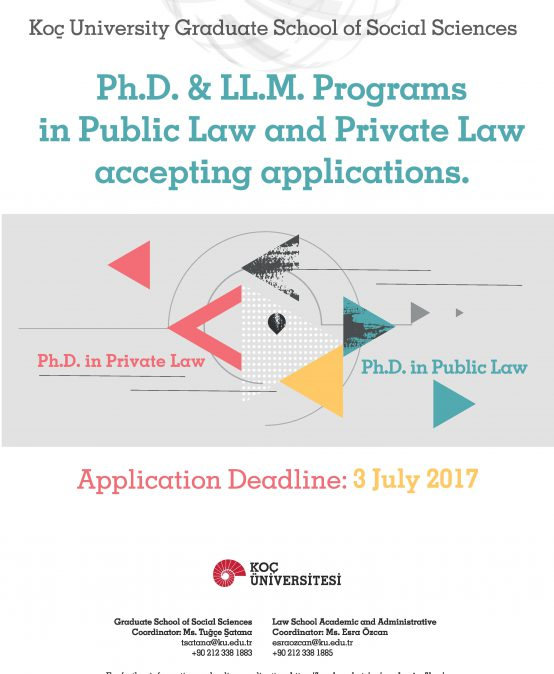 Ph.D. & LL.M. Programs in Public and Private Law are accepting applications.